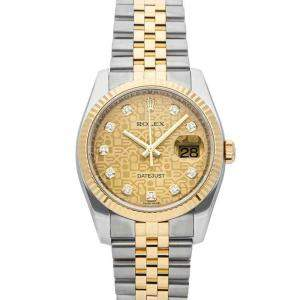 Rolex Champagne Diamonds Yellow Gold And Stainless Steel Datejust 116233 Men's Wristwatch 36 MM