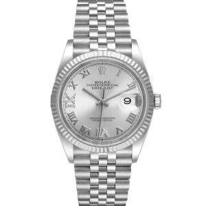 Rolex Silver Diamonds 18K White Gold And Stainless Steel Datejust 126234 Men's Wristwatch 36 MM