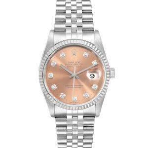 Rolex Salmon Diamonds 18K White Gold And Stainless Steel Datejust 16234 Men's Wristwatch 36 MM