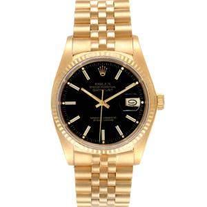 Rolex Black 18K Yellow Gold Datejust Vintage 16018 Men's Wristwatch 36 MM