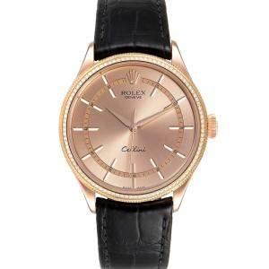 Rolex Pink Diamond 18K Rose Gold Cellini Automatic 50705 Men's Wristwatch 39 MM