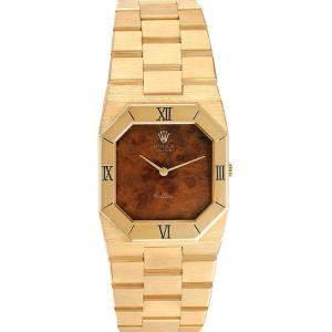 Rolex Brown Wooden 18K Yellow Gold Cellini Octagonal 4350 Men's Wristwatch 30 x 27 MM
