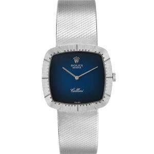 Rolex Blue 18k White Gold Cellini Vintage 4320 Men's Wristwatch 30 x 30 MM