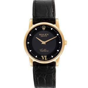 Rolex Black 18K Yellow Gold Cellini Classic 5116 Men's Wristwatch 32 MM