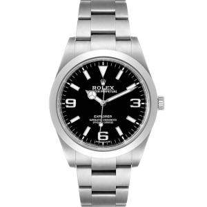 Rolex Black Stainless Steel Explorer I 214270 Automatic Men's Wristwatch 39 MM