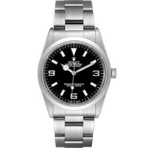 Rolex Black Stainless Steel Explorer I 14270 Men's Wristwatch 36 MM