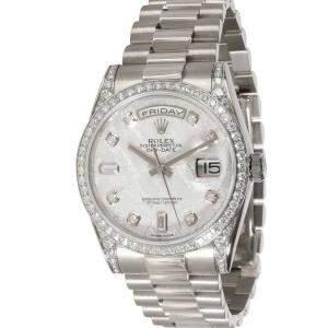 Rolex Grey Diamonds 18K White Gold Day-Date 118389 Men's Wristwatch 36 MM