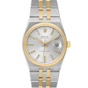 Rolex Silver 14k Yellow Gold And Stainless Steel Oysterquartz Datejust 17013 Men's Wristwatch 36 MM