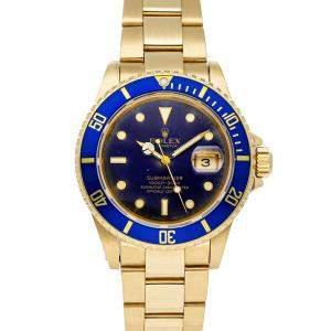 Rolex Blue 18K Yellow Gold Submariner Date 16808 Men's Wristwatch 40 MM