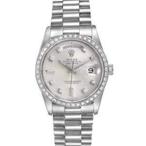 Rolex Silver Diamonds Platinum President Day-Date 18346 Men's Wristwatch 36 MM