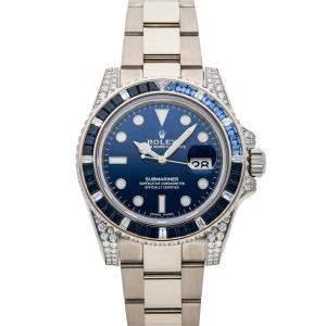 Rolex Blue Diamonds 18K White Gold Submariner Date 116659SABR Men's Wristwatch 40 MM