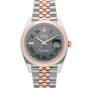 Rolex Grey 18K Rose Gold And Stainless Steel Oyster Perpetual Datejust 126331 Men's Wristwatch 41 MM