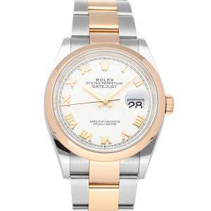 Rolex Silver 18K Rose Gold And Stainless Steel Datejust 126201 Men's Wristwatch 36 MM