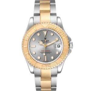 ساعة يد رجالية رولكس يخت ماستر 168623 ذهب أصفر عيار 18 وستانلس ستيل سليت 35 مم