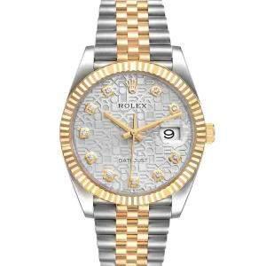 ساعة يد نسائية رولكس ديت جست 126233  ذهب أصفر عيار 18 وستانلس ستيل  ألماس فضية 36 مم