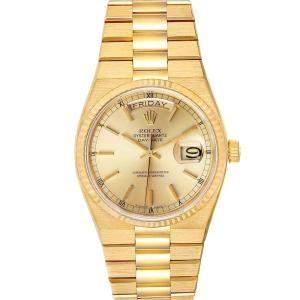 ساعة يد رجالية رولكس بريزيدنت داي ديت 19018  أويستر كوارتز ذهب أصفر عيار 18 شامبانيا 36 مم