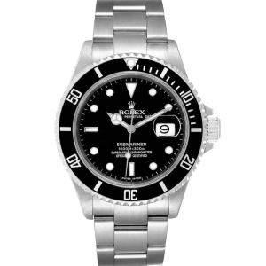 ساعة يد رجالية رولكس صب مارينر 16610 ستانلس ستيل سوداء 40مم