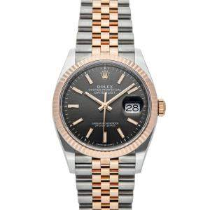 Rolex Grey 18K Rose Gold And Stainless Steel Datejust 126231 Men's Wristwatch 36 MM