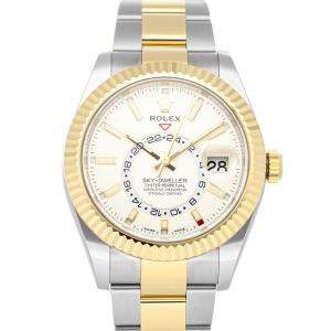 Rolex White 18K Yellow Gold And Stainless Steel Sky-Dweller 326933 Men's Wristwatch 42 MM