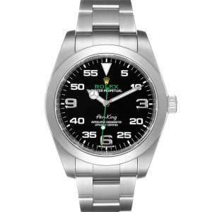 ساعة يد رجالية رولكس إير كينغ 116900  أويستر بربيتوال ستانلس ستيل سوداء 40مم