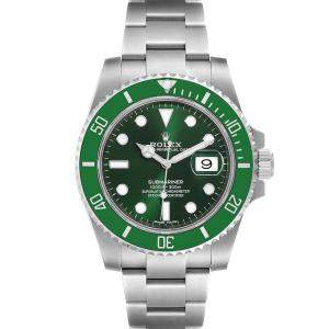ساعة يد رجالية رولكس صب مارينر هالك 116610LV ستانلس ستيل خضراء 40 مم