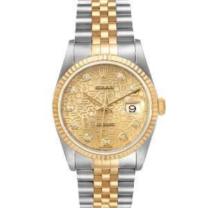ساعة يد رجالية رولكس ديت جست 16233  ذهب أصفر عيار 18 وستانلس ستيل شامبانيا 36 مم