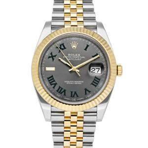 ساعة يد رجالية رولكس ديت جست 126333 ستانلس ستيل وذهب أصفر عيار 18 رصاصية 41 مم