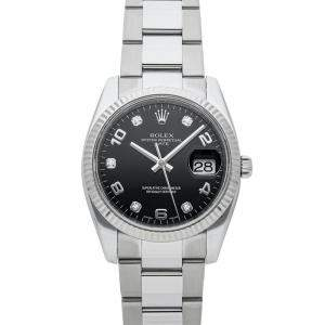 Rolex Black Diamonds 18K White Gold And Stainless Steel Oyster Perpetual Date 115234 Men's Wristwatch 34 MM