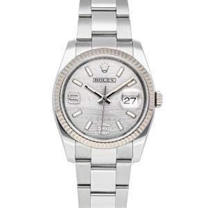Rolex Grey Diamonds 18K White Gold And Stainless Steel Datejust 116234 Men's Wristwatch 36 MM