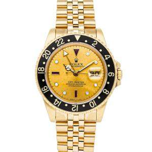 Rolex Champagne 18K Yellow Gold GMT-Master 16758 Men's Wristwatch 40 MM