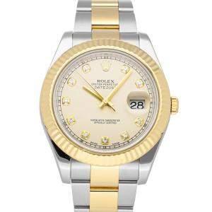 ساعة يد رجالية رولكس ديت جست  II 116333 ذهب أصفر عيار 18 وستانلس ستيل عاجية 41 مم