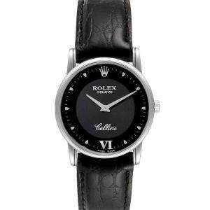 Rolex Black 18K White Gold Cellini Classic 5116 Men's Wristwatch 32 MM