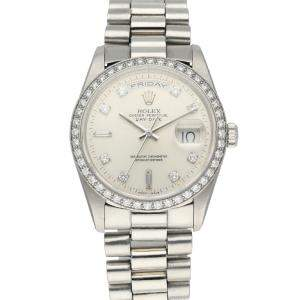 Rolex Silver Diamonds Platinum Day-Date President 18346 Men's Wristwatch 36 MM