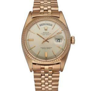Rolex Silver 18K Rose Gold Day Date President 1803 Men's Wristwatch 36 MM