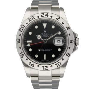 Rolex Black Stainless Steel Explorer II 16570 Men's Wristwatch 40 MM