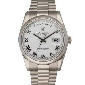 Rolex Silver 18K White Gold Day Date 118209 Men's Wristwatch 36 MM