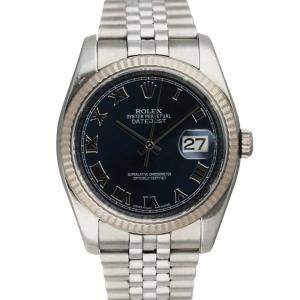 Rolex Blue Stainless Steel Oyster Perpetual Datejust 116234 Men's Wristwatch 36 MM