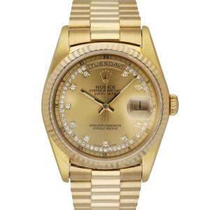 Rolex Champagne Diamonds 18K Yellow Gold President Day Date 18238 Vintage Men's Wristwatch 36 MM