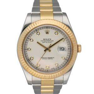 Rolex Silver Diamonds 18K Yellow Gold And Stainless Steel Datejust 116333 Men's Wristwatch 41 MM