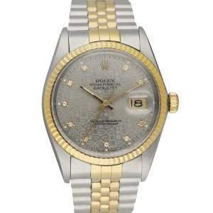 Rolex Grey Diamonds 18K Yellow Gold And Stainless Steel Datejust 16013 Men's Wristwatch 36 MM