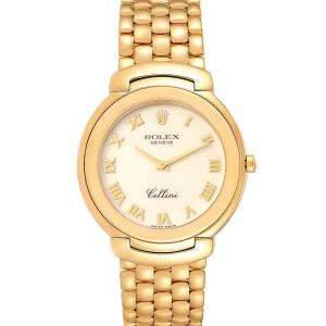 Rolex Ivory 18k Yellow Gold Cellini 6623 Men's Wristwatch 37.5 MM