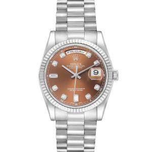 Rolex Bronze Diamonds 18K White Gold President Day-Date 118239 Men's Wristwatch 36 MM