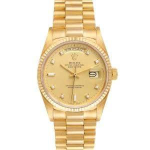 Rolex Champagne Diamonds 18k Yellow Gold President Day-Date 18038 Men's Wristwatch 36 MM