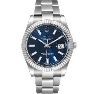 Rolex Blue 18K White Gold And Stainless Steel Datejust II 116334 Men's Wristwatch 41 MM