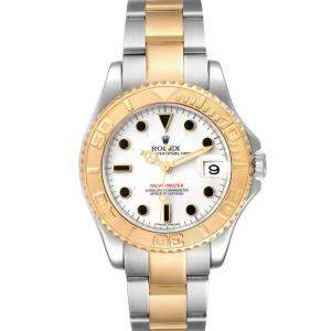 Rolex White 18K Yellow Gold And Stainless Steel Yachtmaster 168623 Men's Wristwatch 35 MM