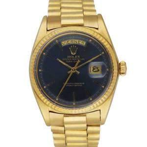 Rolex Blue 18K Yellow Gold Day Date 1803 Men's Wristwatch 36 MM
