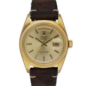 Rolex Champagne 18K Yellow Gold Day Date 1803 Men's Wristwatch 36 MM