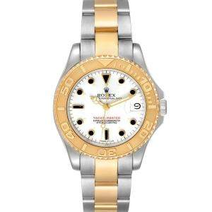 Rolex White 18K Yellow Gold And Stainless Steel Yachtmaster 68623 Men's Wristwatch 35 MM