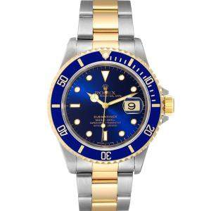 Rolex Blue 18K Yellow Gold And Stainless Steel Submariner 16613 Men's Wristwatch 40 MM