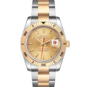 Rolex Champagne 18K Yellow Gold And Stainless Steel Datejust Turnograph 116263 Men's Wristwatch 36 MM